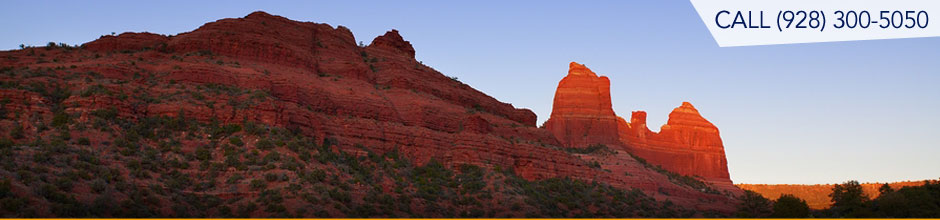 Beautiful red rocks of Sedona Arizona at sunset.